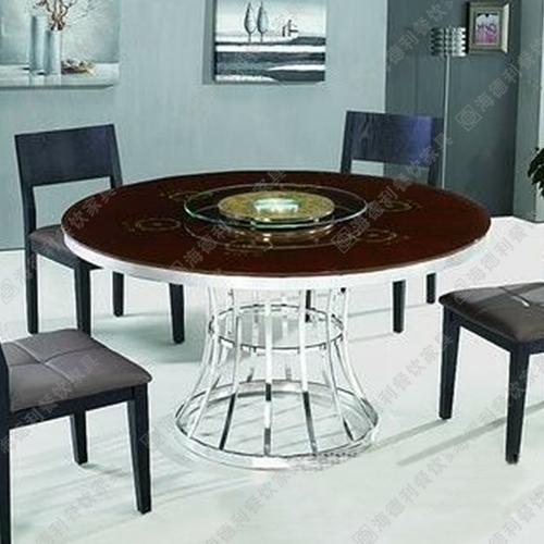 2014新款 内嵌式电磁炉 不锈钢火锅桌 大理石转盘餐桌