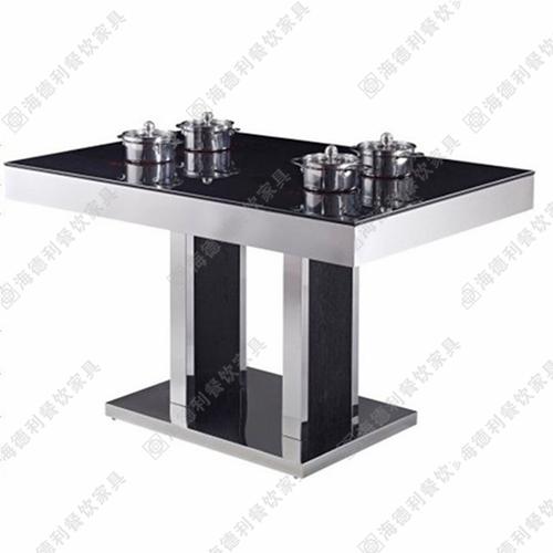 无烟火锅桌全不锈钢火锅桌电磁炉火锅桌千味涮火锅桌