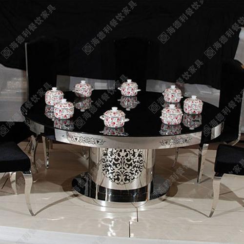 家具城 钢化玻璃不锈钢火锅桌 电磁炉火锅桌北京 内蒙厂家定做