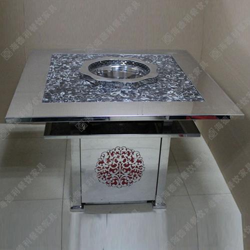 火锅店火锅桌子 大理石火锅桌 电磁炉火锅桌 不锈钢火锅桌