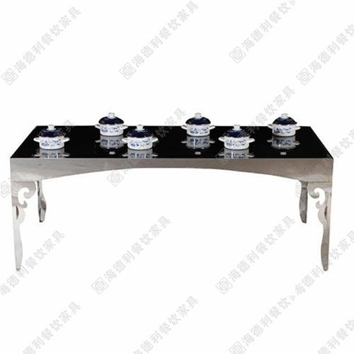 厂家直销 不锈钢火锅桌 钢化玻璃火锅桌 电磁炉餐桌 千味涮火锅桌
