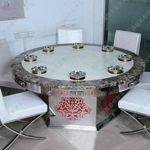 厂家直销不锈钢火锅圆桌椅 无烟烧烤桌