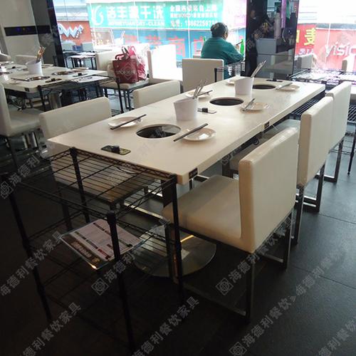 厂家定制批发大理石火锅桌椅 电池炉液化气煤气灶实木柜式火锅桌