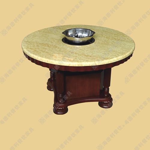厂家直销大理石电磁炉不锈钢火锅桌 实木烧烤店烤肉店火锅桌椅