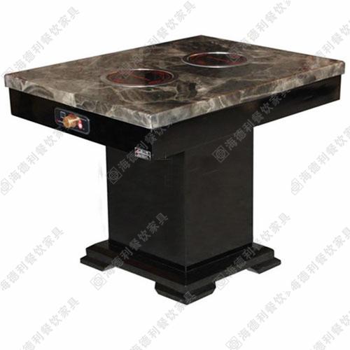 电磁炉煤气灶实木火锅桌 火锅店餐桌批发大理石火锅桌椅