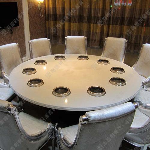 火锅桌厂家直销 大理石火锅桌煤气火锅桌 电磁炉火锅桌椅