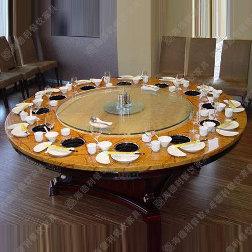 厂家直销大理石铸铁腿韩式烧烤桌电磁炉煤气灶实木火锅桌