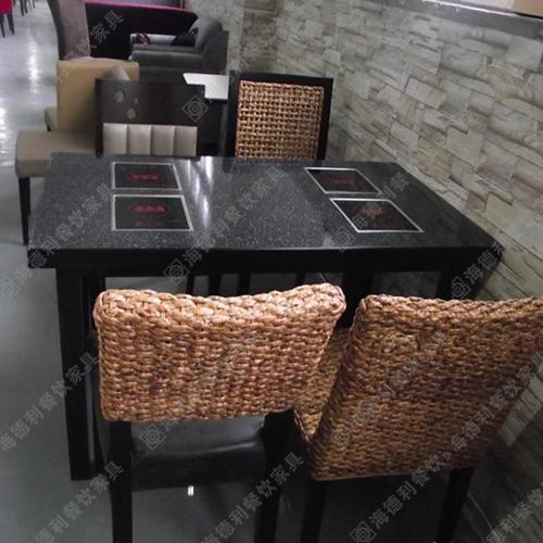 定做 电磁炉火锅桌 实木火锅餐桌子 大理石火锅桌 小肥羊火锅餐桌