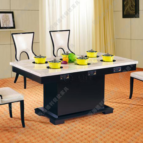 大理石火锅桌子 电磁炉火锅桌椅组合烤肉店桌