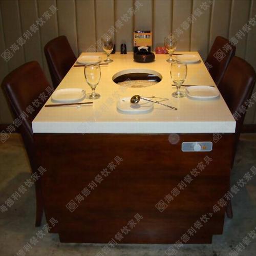 小肥羊德庄火锅店桌子 大理石火锅桌 电磁炉火锅桌 宜家火锅餐桌