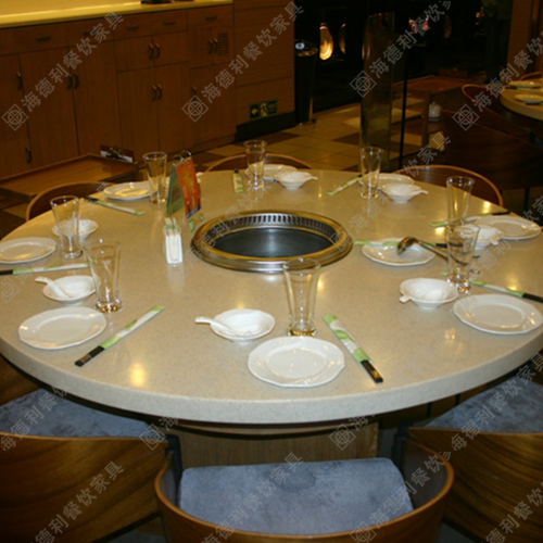 大理石电磁炉火锅桌酒店家用火锅桌子