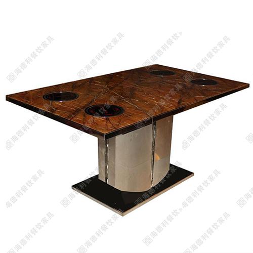 棕黄色人造大理石火锅桌 小肥羊火锅桌