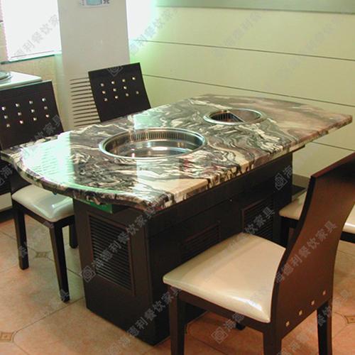 火锅桌大理石餐桌定做电磁炉桌 长方带