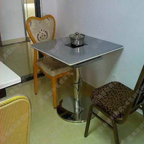正方形大理石火锅桌 电磁炉火锅桌子 餐