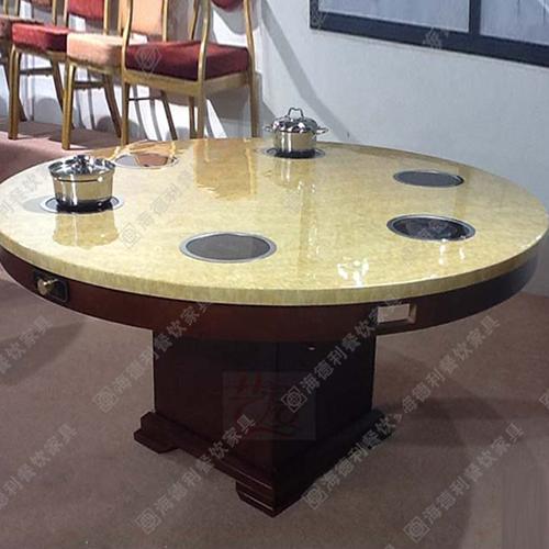 火锅桌 大理石电磁炉火锅桌椅韩式铸铁