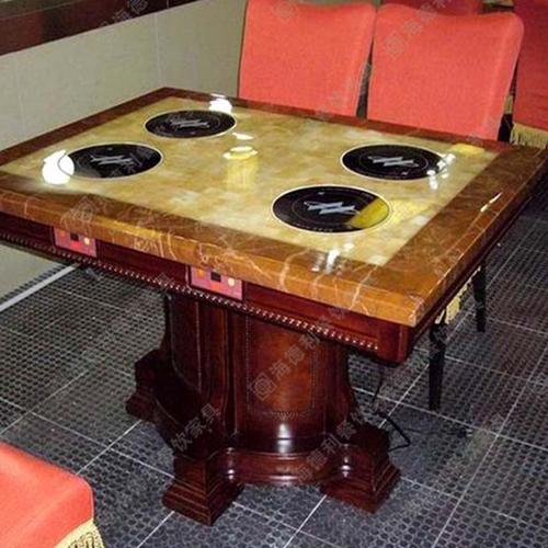 厂家定制批发大理石火锅桌椅 电磁炉液