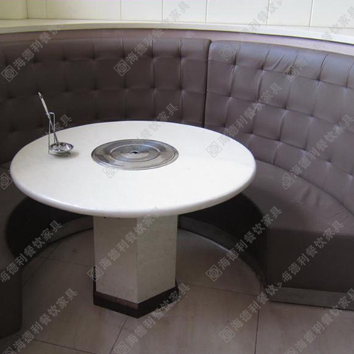 大理石火锅桌 电磁炉煤气灶火锅桌椅组