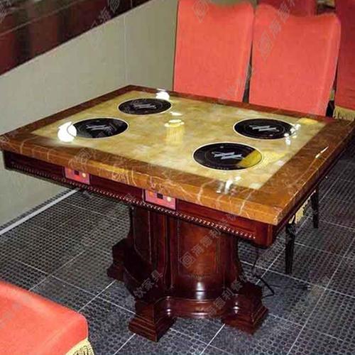 大理石电磁炉火锅桌无烟实木餐桌橡木圆桌酒店家用吃饭火锅桌中式