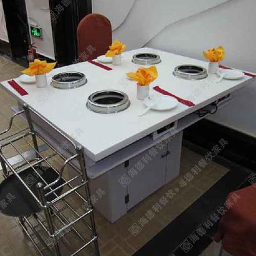 电磁炉火锅桌 大理石火锅桌 白色圆形无