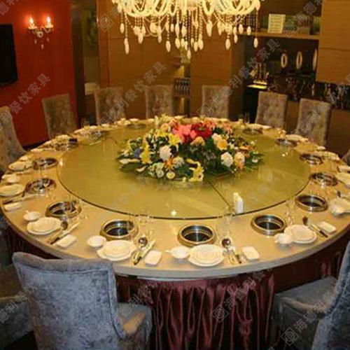 多人位大理石火锅桌圆餐桌电磁炉火锅桌