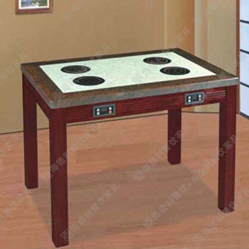 定做火锅桌子 防腐实木火锅桌 大理石火