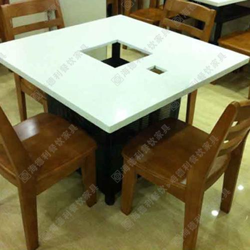 厂家直销大理石电磁炉不锈钢火锅桌 白
