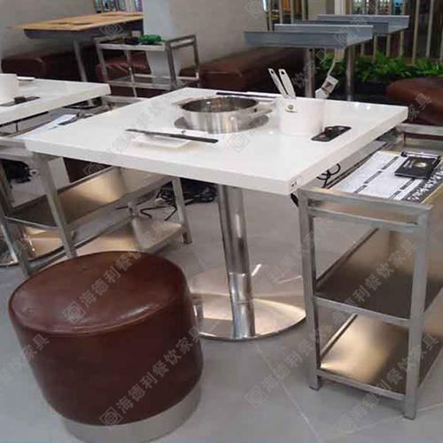 大理石火锅桌圆桌厂家直销自助电磁炉火