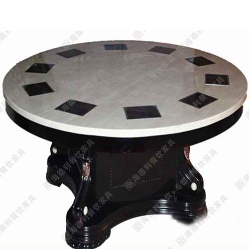 火锅桌大理石餐桌定做酒店电磁炉桌圆实
