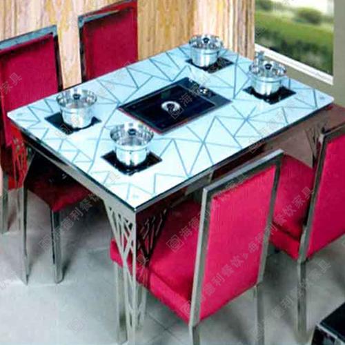 厂家直销大理石铸铁腿韩式烧烤桌电磁炉