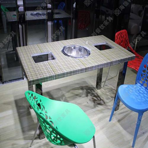 深圳南山火锅店桌椅 大理石火锅餐桌 电