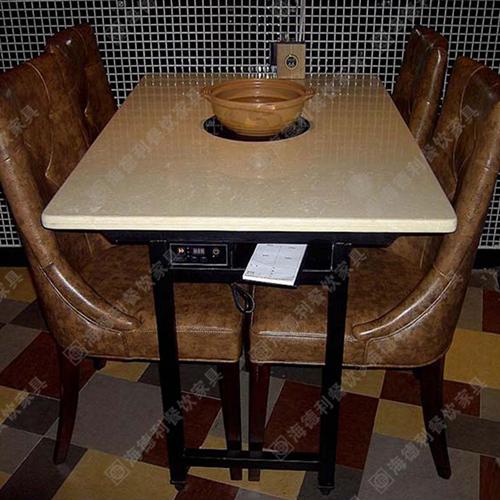 大理石火锅桌 火锅店餐桌椅组合批发 煤