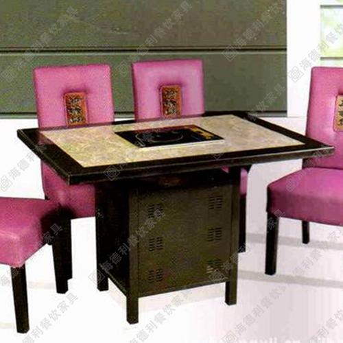 大理石火锅桌 自助箱式实木软包组合 卡