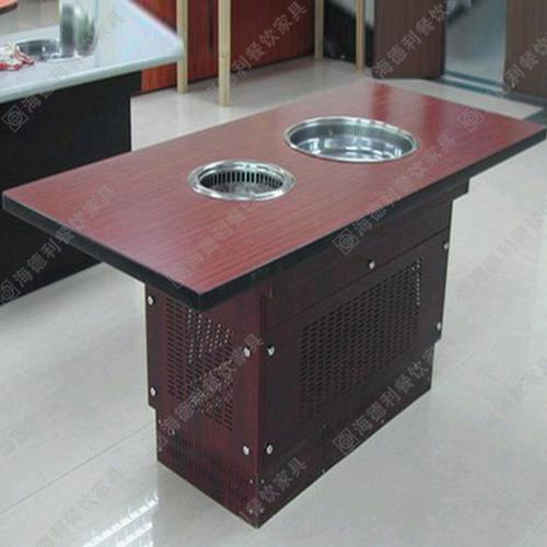 防火板火锅桌 高档火锅桌 无烟电磁炉火锅桌椅价格