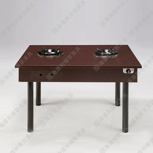 实木柜式火锅桌大理石火锅桌椅套件液化气电磁炉无烟火锅桌