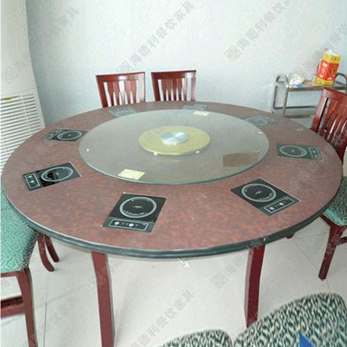 实木无烟火锅桌椅组合 大理石火锅桌椅电磁炉液化气火锅桌椅组合