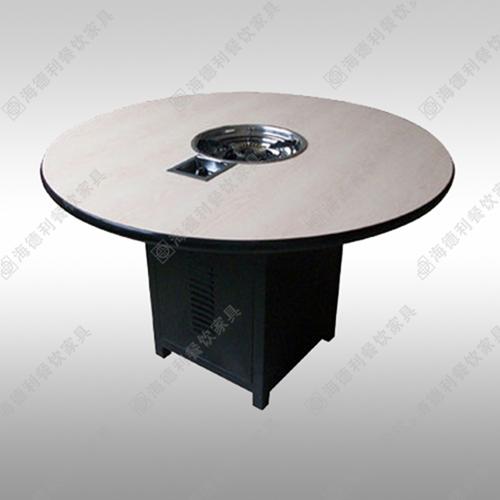 实木火锅店餐桌椅组合 圆形火锅桌 电磁炉燃煤气灶无烟火锅桌