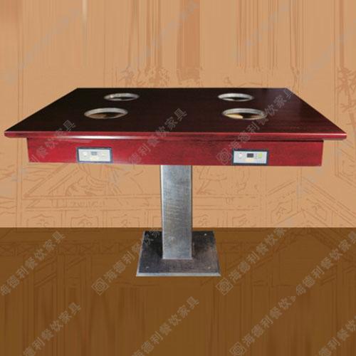 大理石火锅桌玻璃不锈钢火锅桌 无烟火锅桌 huoguozhuo