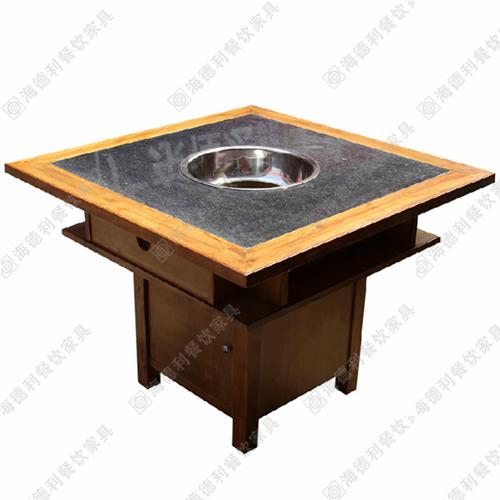 实木无烟火锅桌 火锅桌椅 大理石火锅桌椅 烤炉火锅桌无烟灶头桌