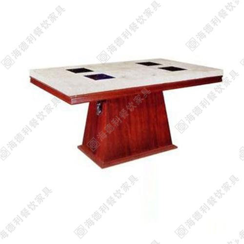 电磁炉火锅桌大理石餐桌定做电磁炉桌长方形实木8/12/16人手/电动2.