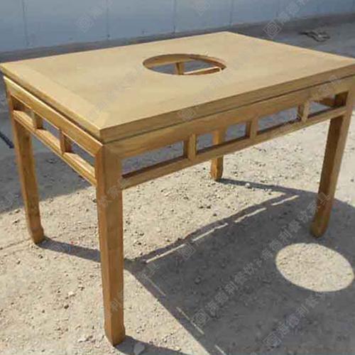 户外碳化实木农家乐饭店无烟火锅桌椅