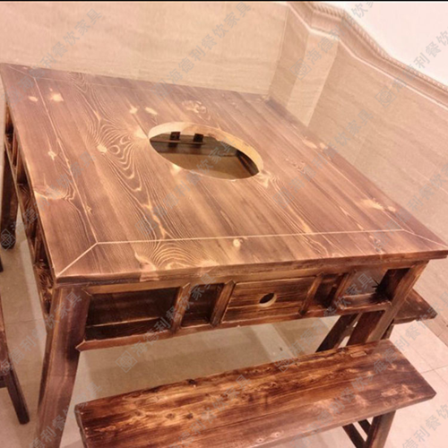 实木火锅桌 电磁炉火锅桌 碳化木煤气灶火锅桌