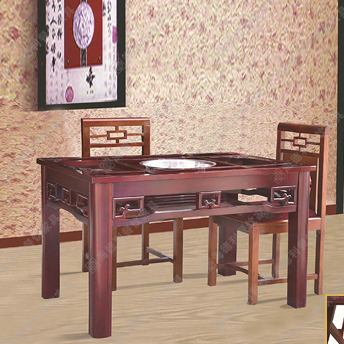 实木火锅店桌椅 火锅餐厅桌椅 火锅电磁炉桌椅