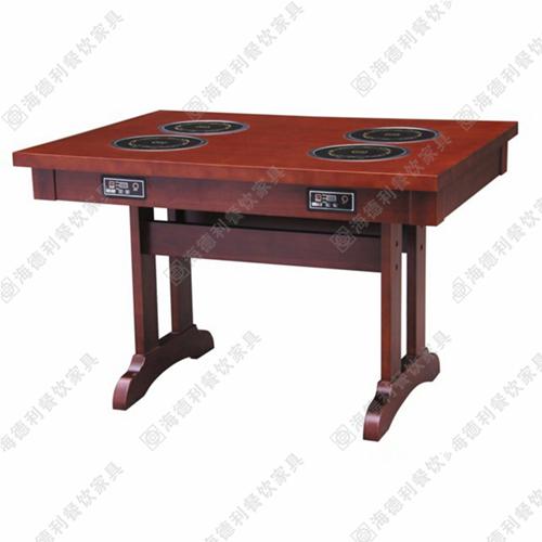 火锅桌椅 实木电磁炉火锅桌 餐厅火锅桌 自助火锅桌 烧烤桌
