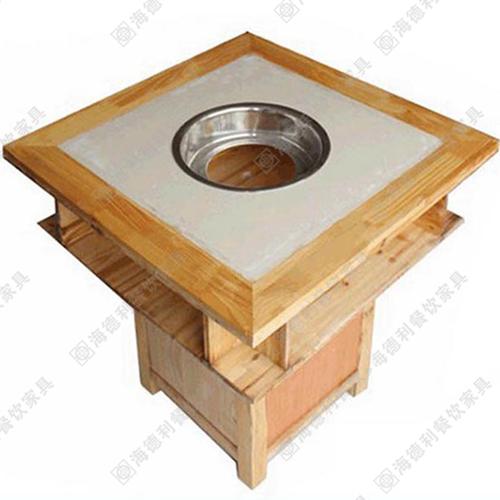 火锅店烧烤一体实木餐桌 涮烤一体实木餐桌 火锅实木餐桌