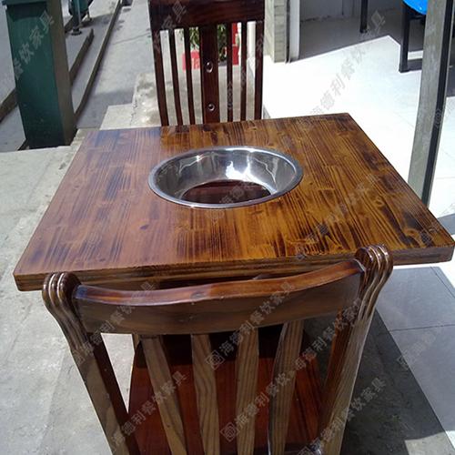 实木火锅桌 自助碳化木火锅桌 无烟橡木火锅桌