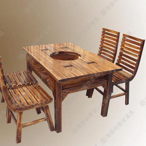 实木火锅桌椅 深圳碳化木火锅桌椅 成都木质火锅桌椅