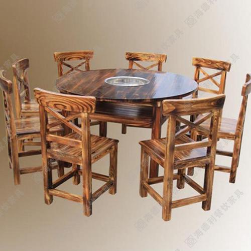 实木火锅桌 火烧木火锅桌价格 优质碳化木火锅桌批发