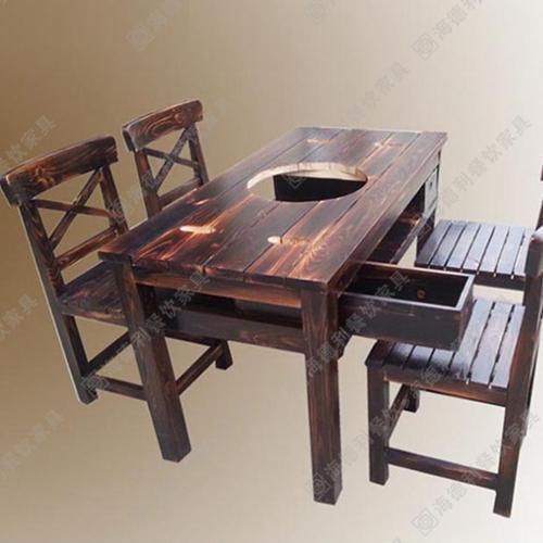无烟实木火锅桌 电磁炉实木火锅餐桌 实木火锅桌子