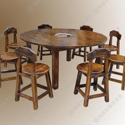 火锅店餐桌 实木火锅桌 深圳实木电磁炉火锅桌
