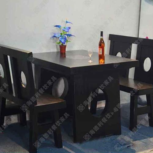 实木火锅桌椅 碳化木火烧木方形实木火锅桌子 实木火锅餐桌